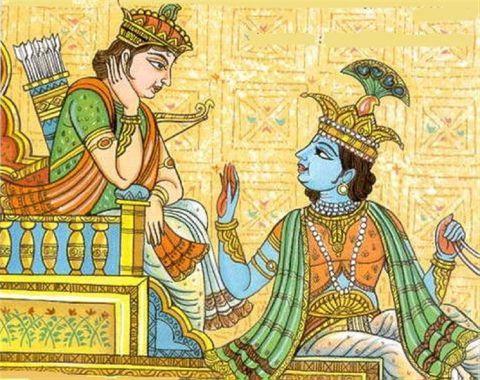 Krsna Arjunát tanítja
